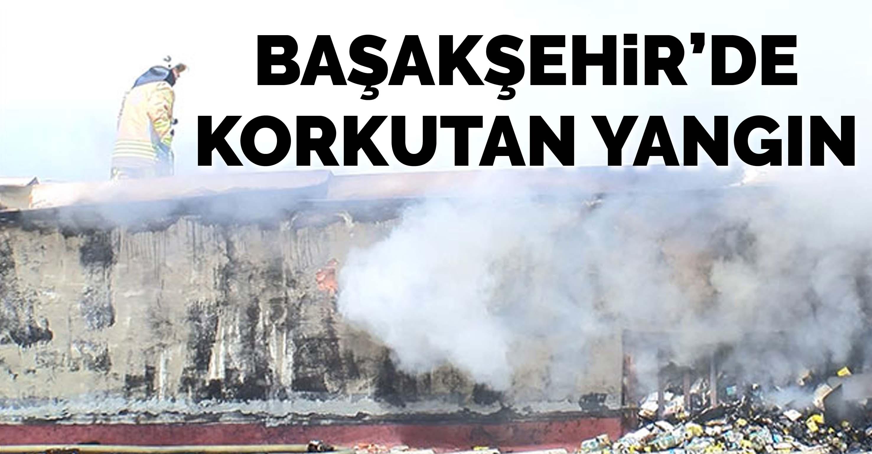 Başakşehir'de iş yerinin çatısı alev alev yandı