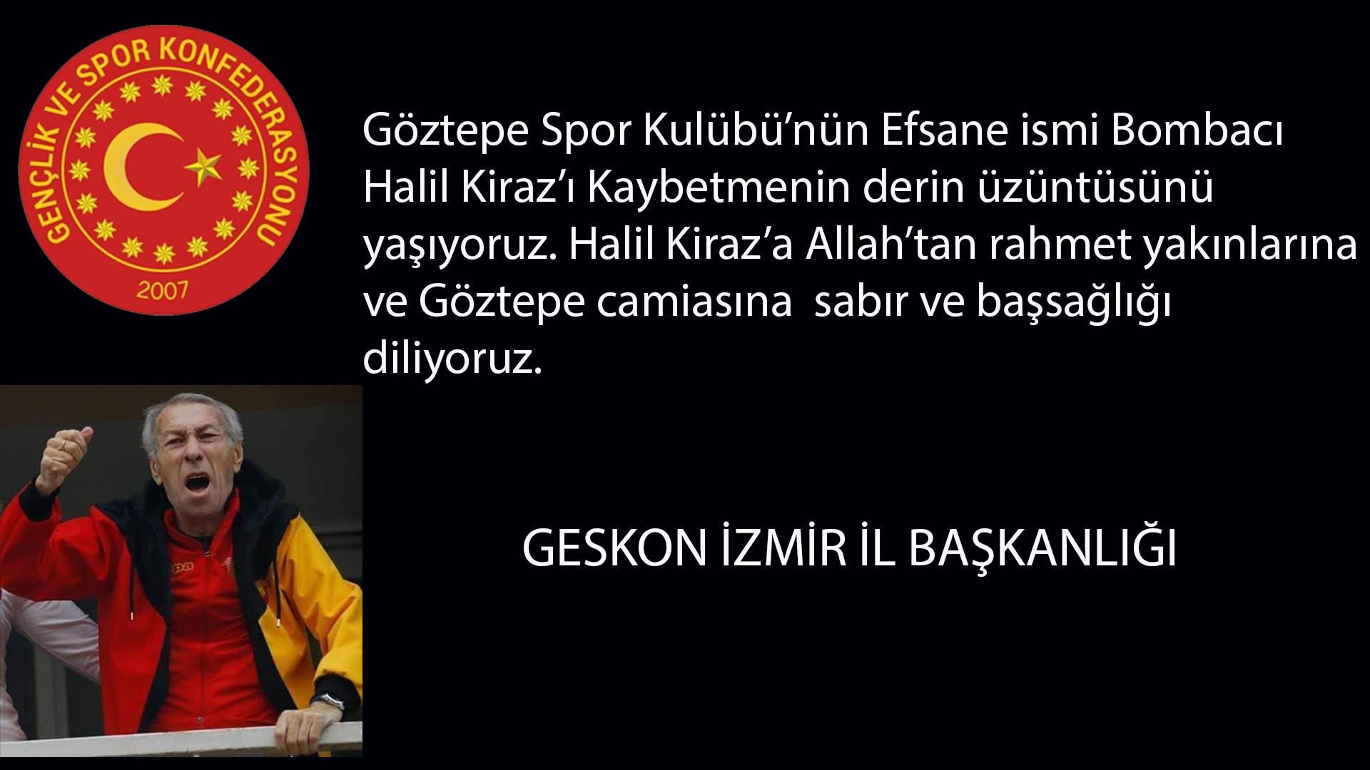 Gençlik ve Spor Konfederasyonu İzmir İl Başkanlığı'ndan Başsağlığı Mesajı