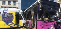 İstanbul'da tramvayla otobüs çarpıştı