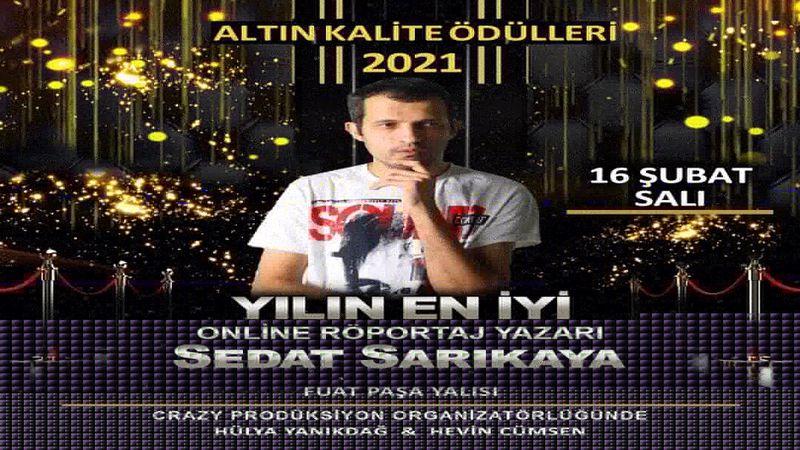 """Sedat Sarıkaya'ya """"En İyi Online Röportaj Yazarı"""" ödülü!"""