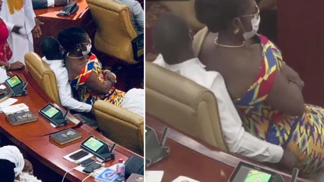 Gana Parlamentosu'nda kadın vekilin erkek vekilin kucağına oturduğu görüntü gündem yarattı